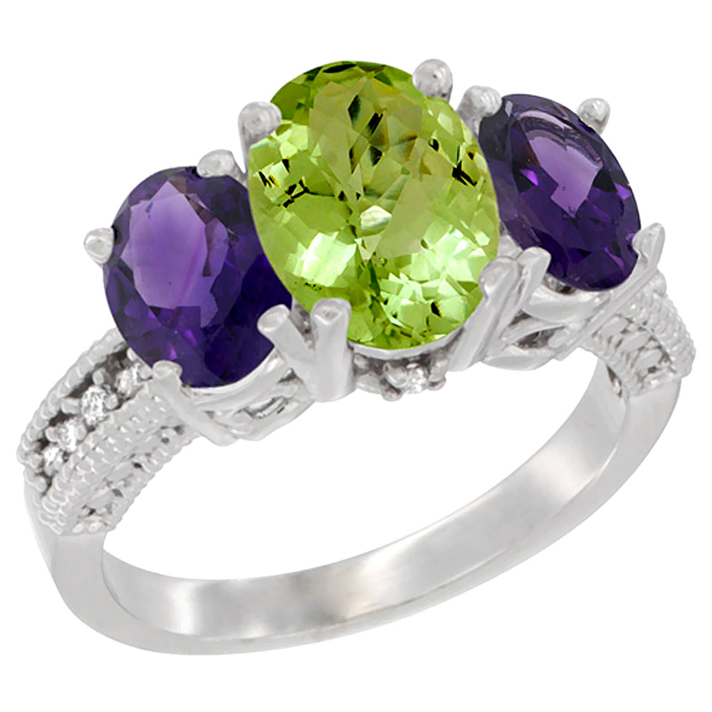 10K White Gold Natural Peridot Ring Ladies 3-Stone 8x6 Oval with Amethyst Sides Diamond Accent, sizes 5 - 10