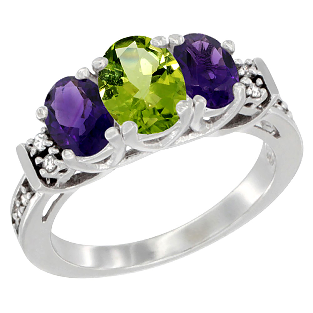 10K White Gold Natural Peridot & Amethyst Ring 3-Stone Oval Diamond Accent, sizes 5-10