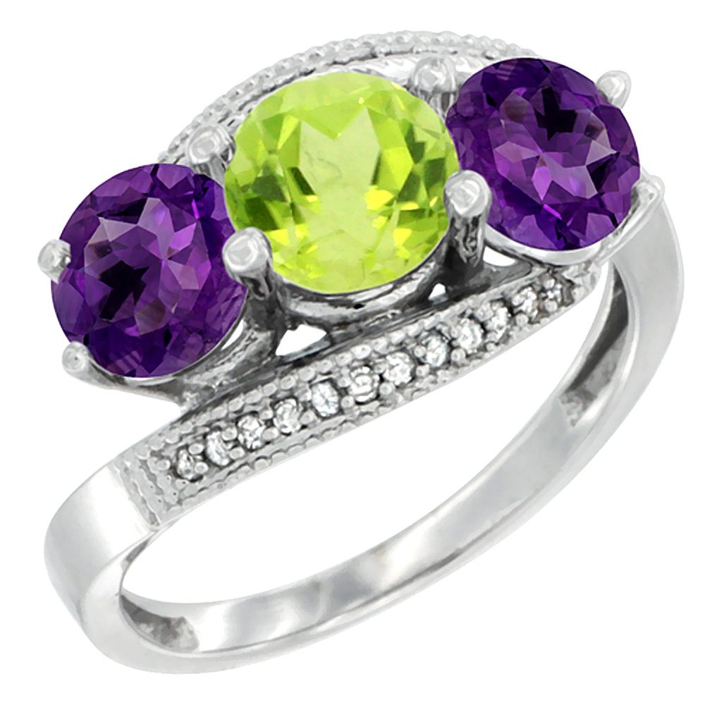 10K White Gold Natural Peridot & Amethyst Sides 3 stone Ring Round 6mm Diamond Accent, sizes 5 - 10