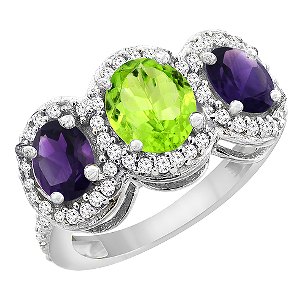 10K White Gold Natural Peridot & Amethyst 3-Stone Ring Oval Diamond Accent, sizes 5 - 10