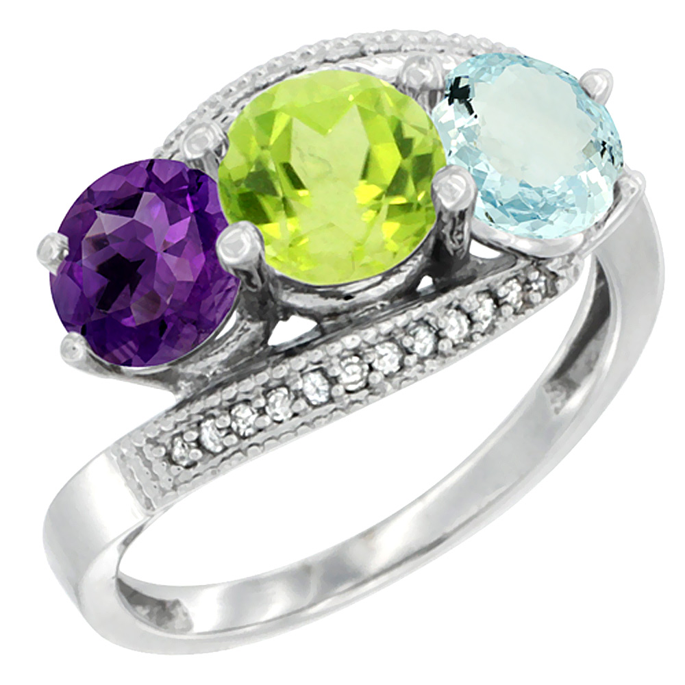 10K White Gold Natural Amethyst, Peridot & Aquamarine 3 stone Ring Round 6mm Diamond Accent, sizes 5 - 10