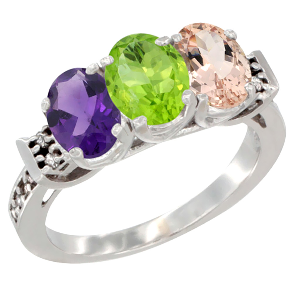 10K White Gold Natural Amethyst, Peridot & Morganite Ring 3-Stone Oval 7x5 mm Diamond Accent, sizes 5 - 10