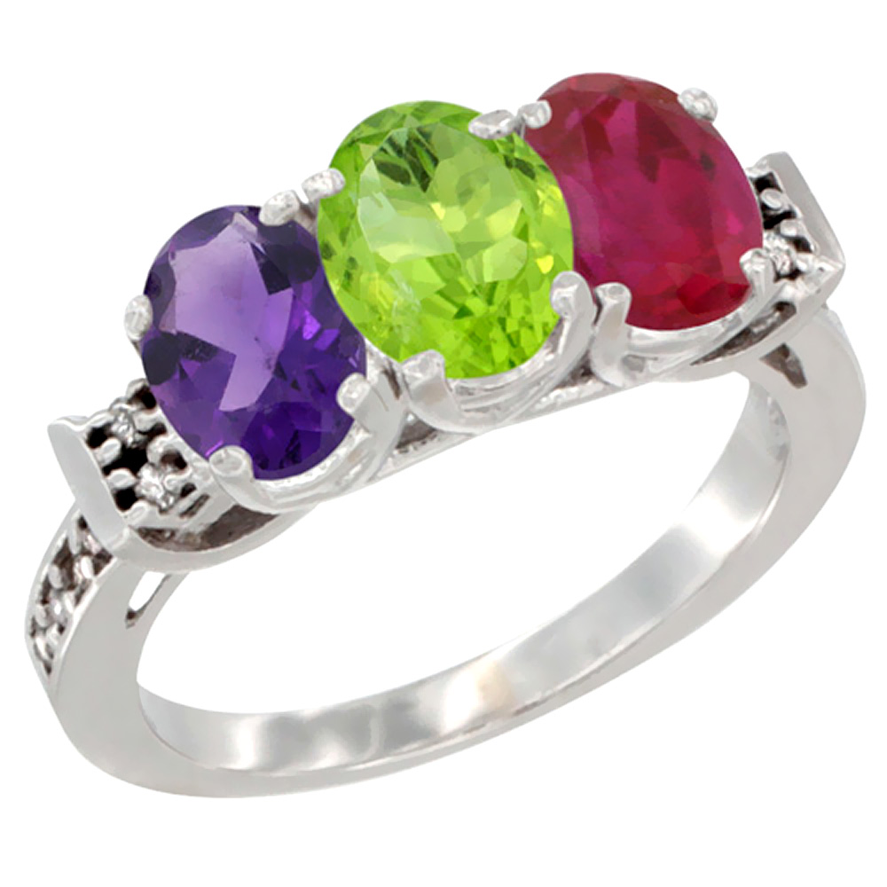 10K White Gold Natural Amethyst, Peridot & Enhanced Ruby Ring 3-Stone Oval 7x5 mm Diamond Accent, sizes 5 - 10