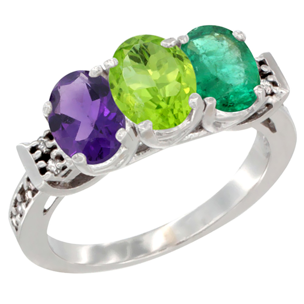 10K White Gold Natural Amethyst, Peridot & Emerald Ring 3-Stone Oval 7x5 mm Diamond Accent, sizes 5 - 10