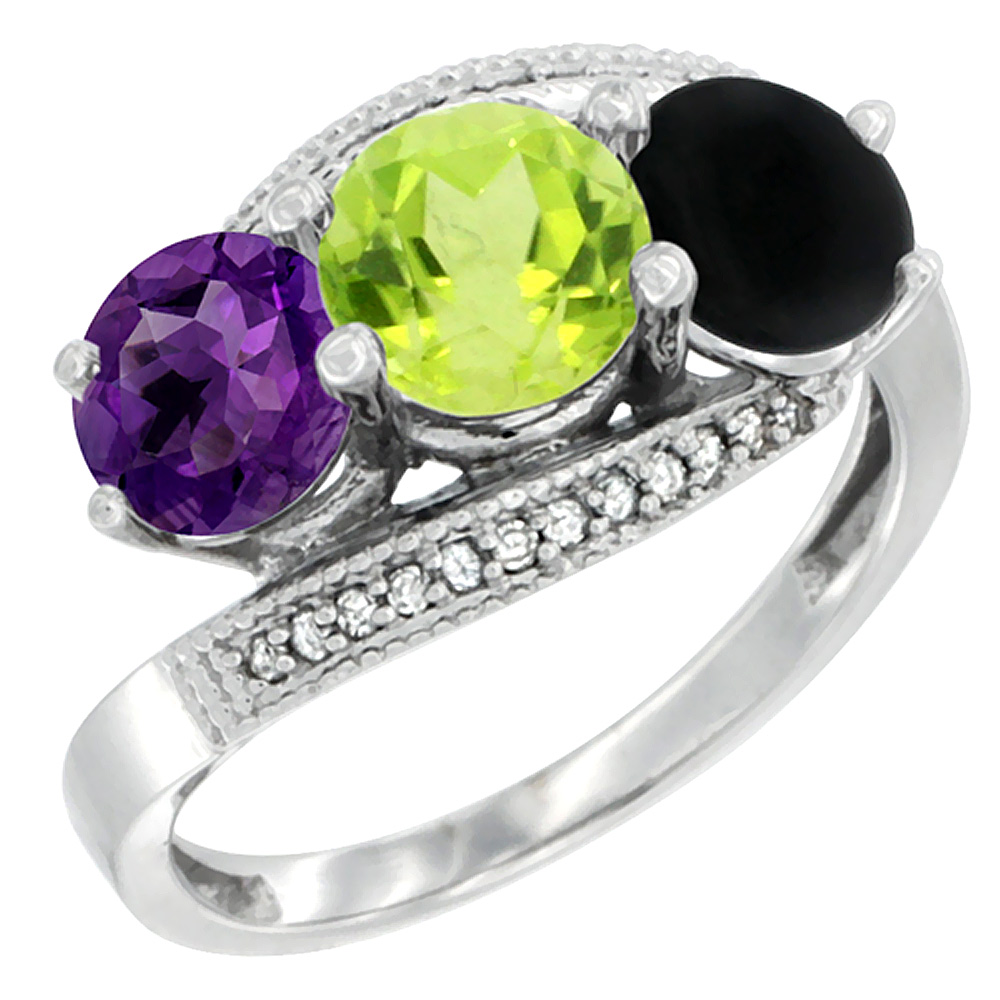 10K White Gold Natural Amethyst, Peridot & Black Onyx 3 stone Ring Round 6mm Diamond Accent, sizes 5 - 10