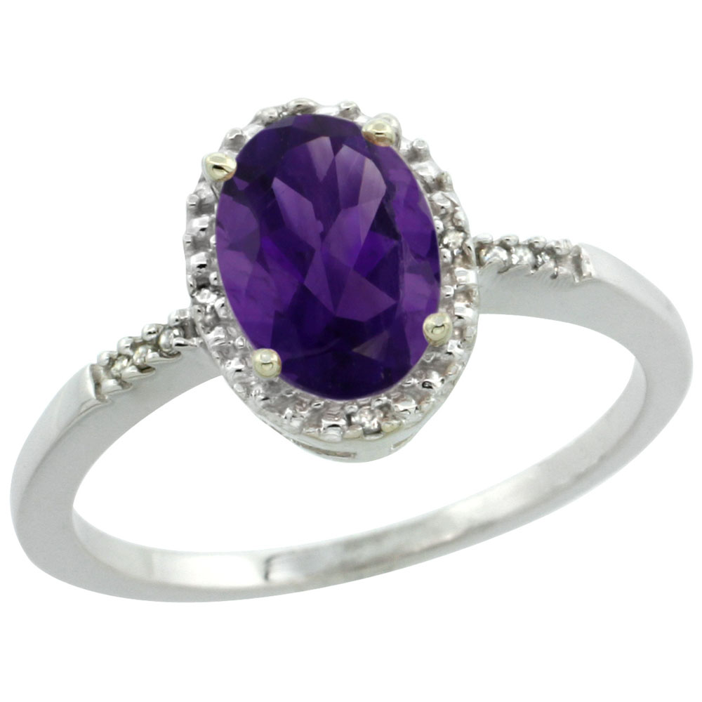 14K White Gold Diamond Natural Amethyst Ring Oval 8x6mm, sizes 5-10