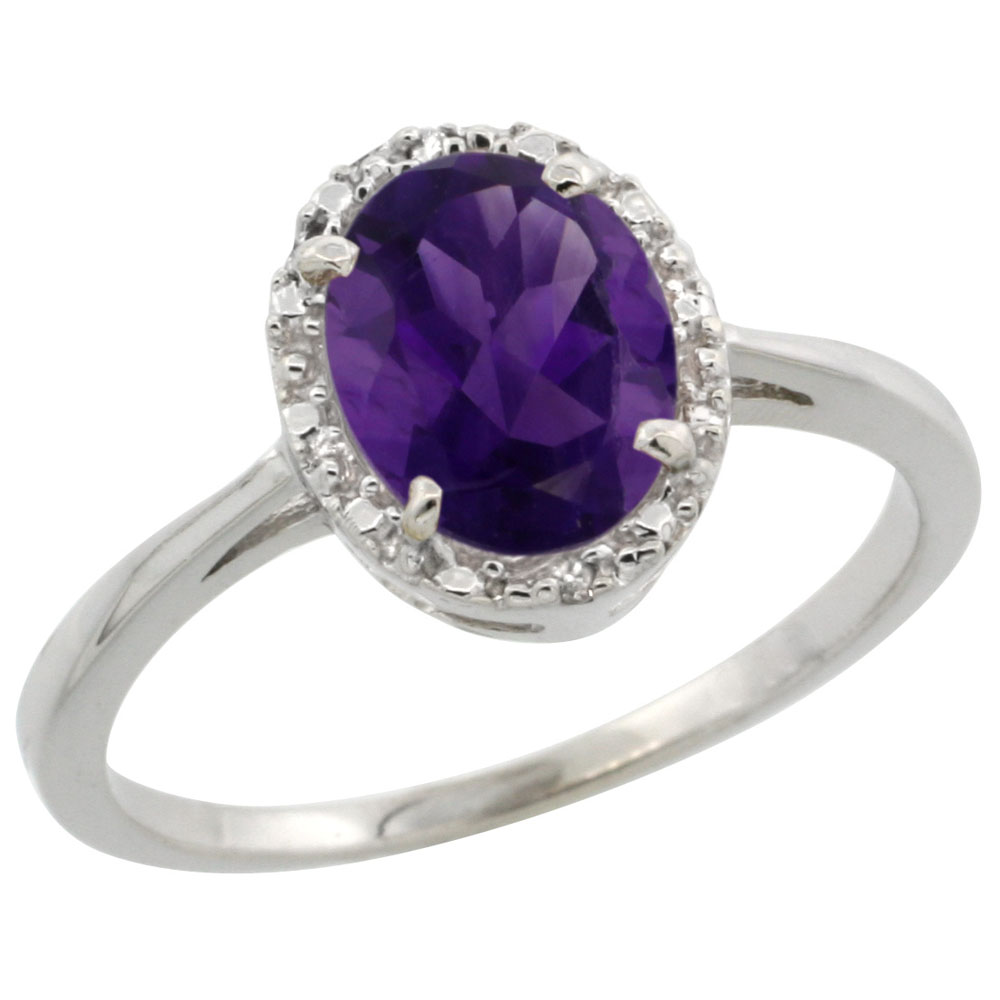 14K White Gold Natural Amethyst Ring Oval 8x6 mm Diamond Halo, sizes 5-10