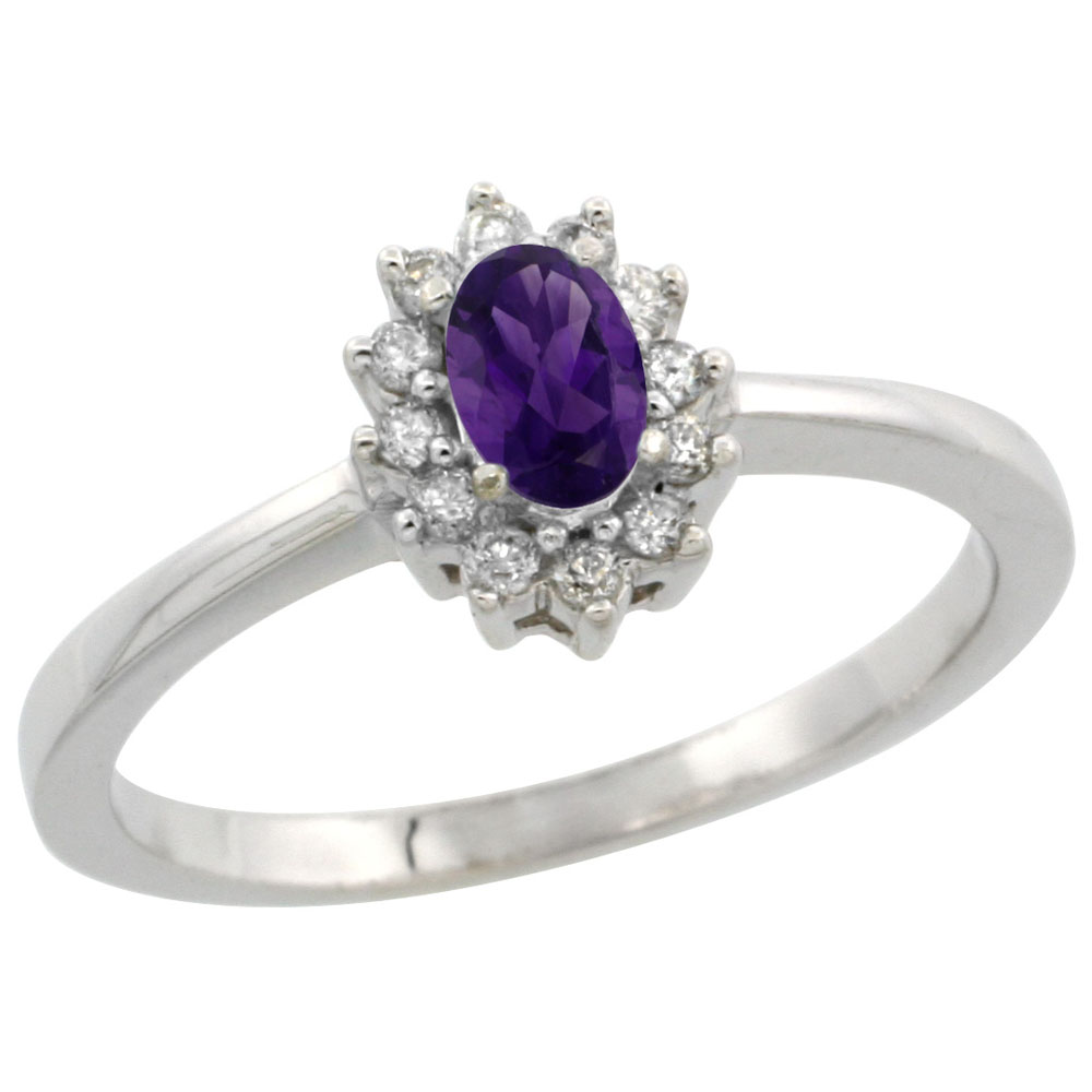 10k White Gold Natural Amethyst Ring Oval 5x3mm Diamond Halo, sizes 5-10