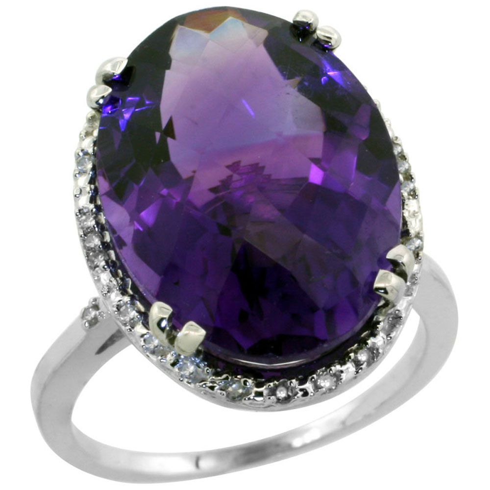 10k White Gold Natural Amethyst Ring Large Oval 18x13mm Diamond Halo, sizes 5-10