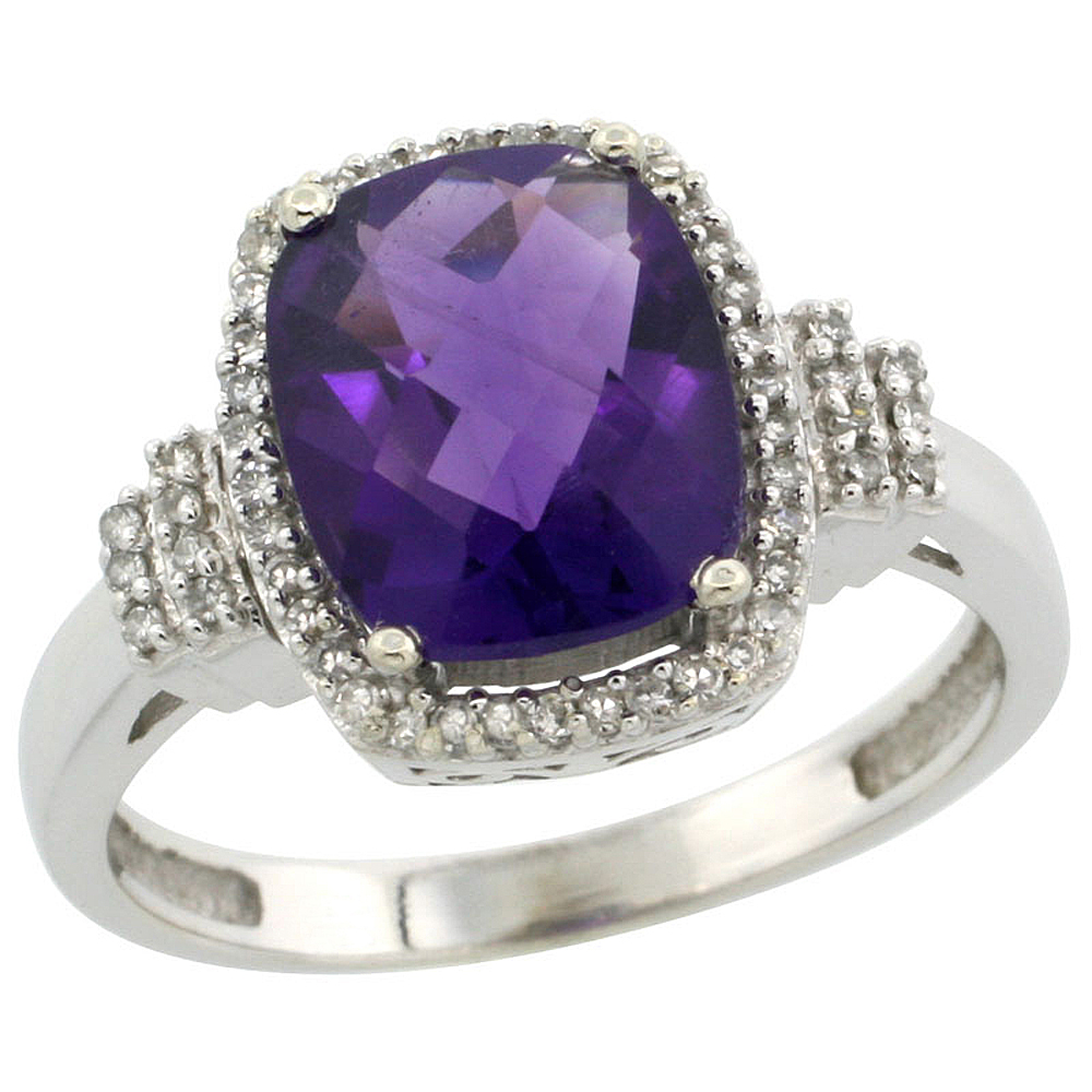 10k White Gold Natural Amethyst Ring Cushion-cut 9x7mm Diamond Halo, sizes 5-10