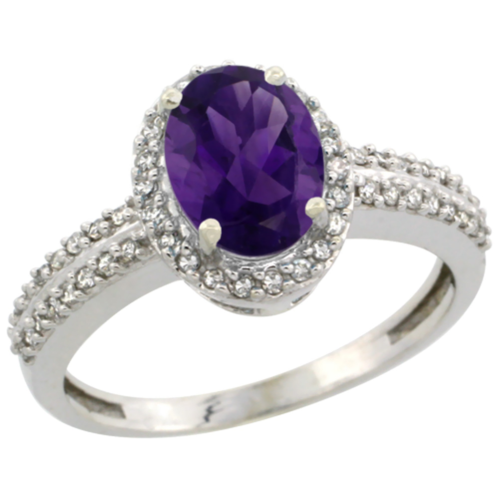 14K White Gold Natural Amethyst Ring Oval 8x6mm Diamond Halo, sizes 5-10