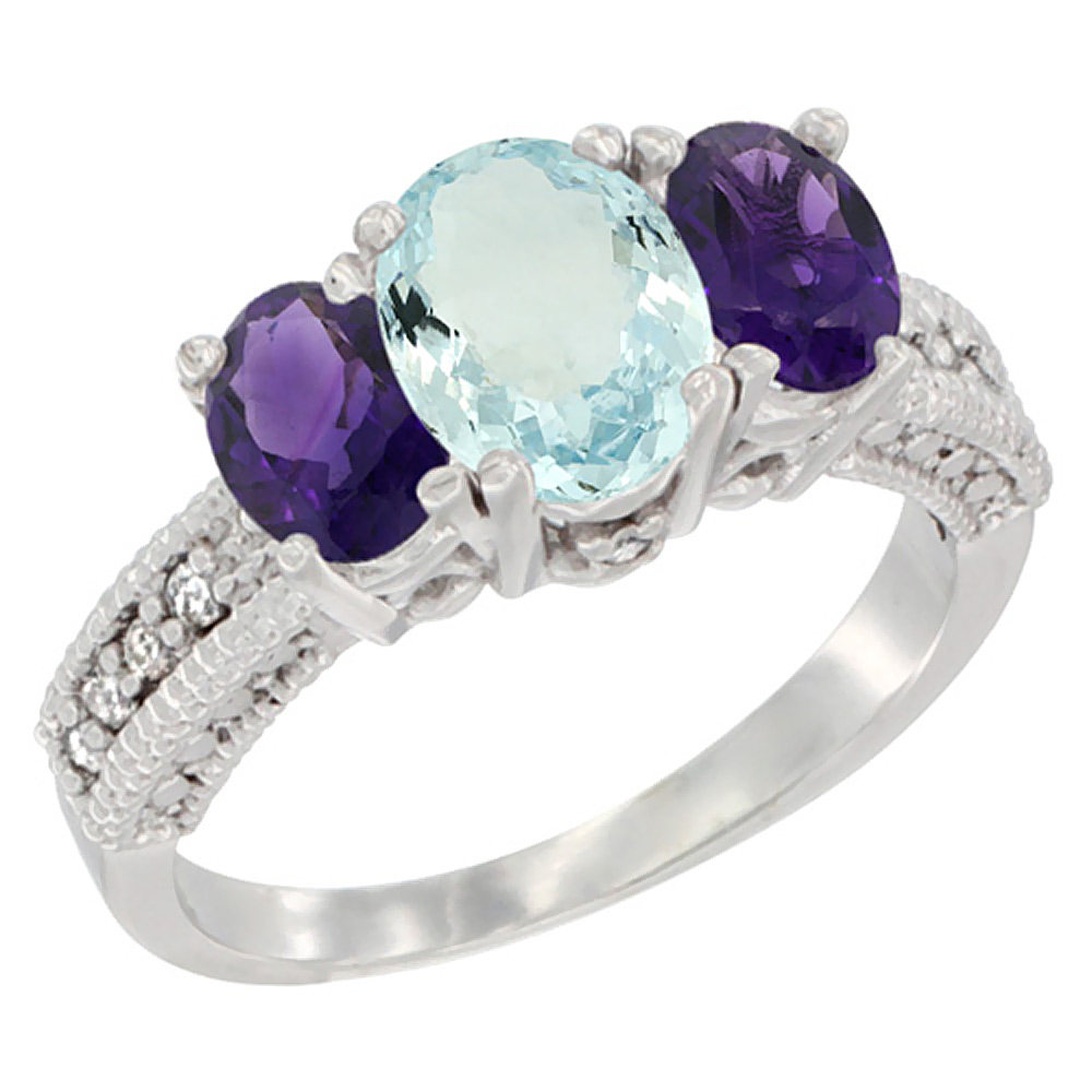 14K White Gold Diamond Natural Aquamariine Ring Oval 3-stone with Amethyst, sizes 5 - 10