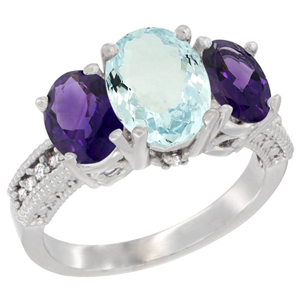 10K White Gold Natural Aquamarine Ring Ladies 3-Stone 8x6 Oval with Amethyst Sides Diamond Accent, sizes 5 - 10