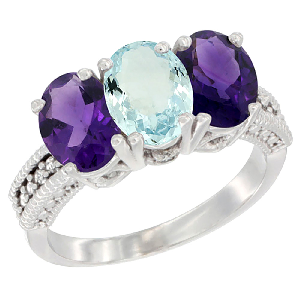 10K White Gold Natural Aquamarine & Amethyst Sides Ring 3-Stone Oval 7x5 mm Diamond Accent, sizes 5 - 10