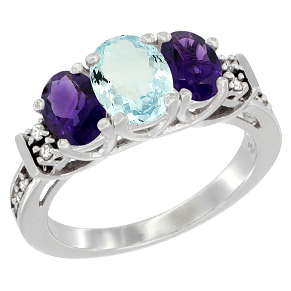 14K White Gold Natural Aquamarine & Amethyst Ring 3-Stone Oval Diamond Accent, sizes 5-10