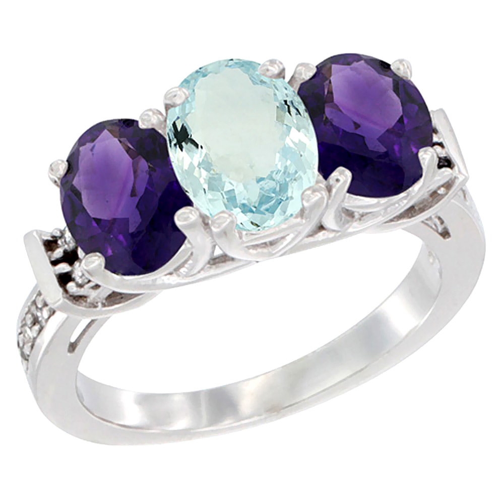 14K White Gold Natural Aquamarine & Amethyst Sides Ring 3-Stone Oval Diamond Accent, sizes 5 - 10