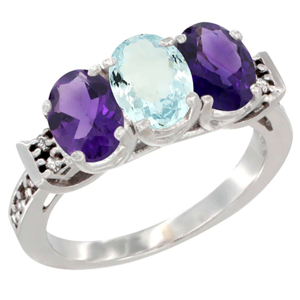 14K White Gold Natural Aquamarine & Amethyst Sides Ring 3-Stone 7x5 mm Oval Diamond Accent, sizes 5 - 10