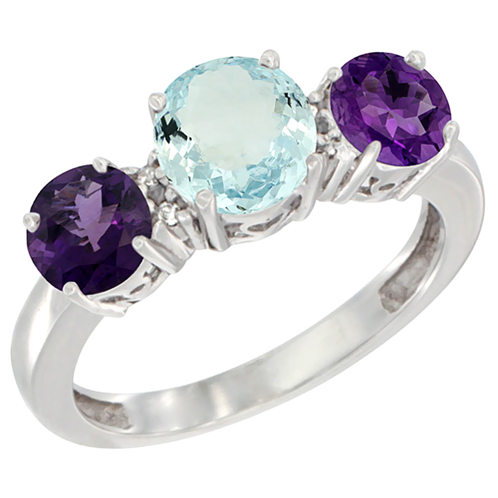 14K White Gold Round 3-Stone Natural Aquamarine Ring & Amethyst Sides Diamond Accent, sizes 5 - 10