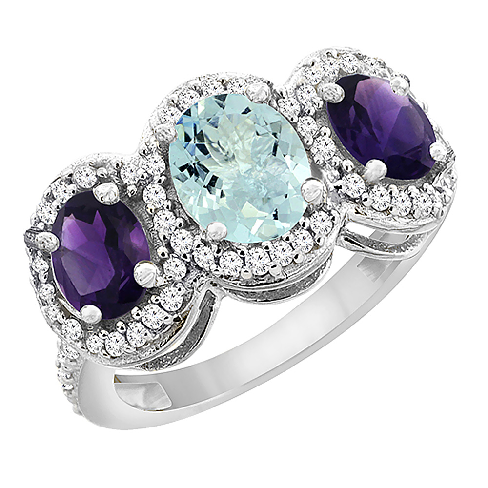 14K White Gold Natural Aquamarine & Amethyst 3-Stone Ring Oval Diamond Accent, sizes 5 - 10