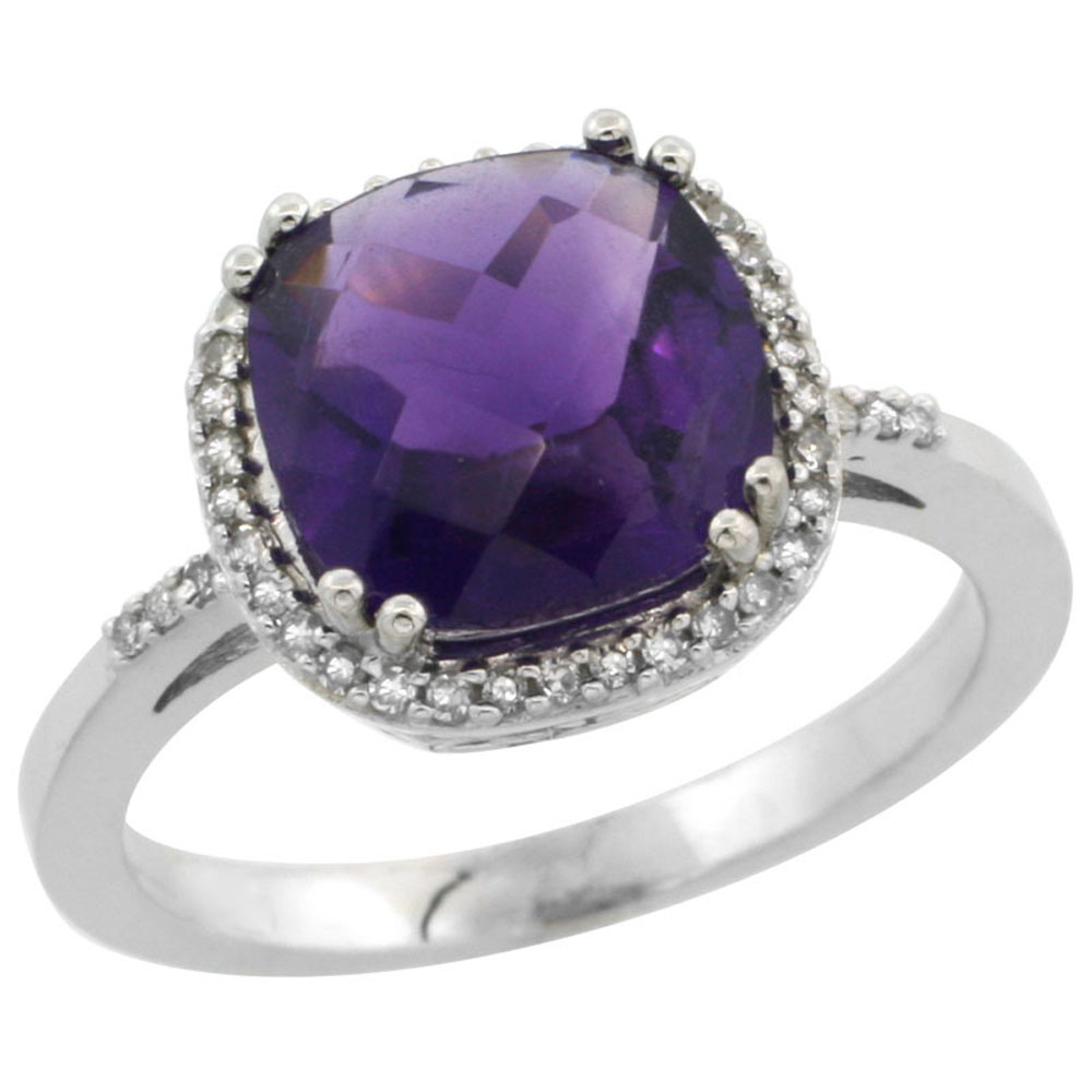 14K White Gold Diamond Natural Amethyst Ring Cushion-cut 9x9mm, sizes 5-10