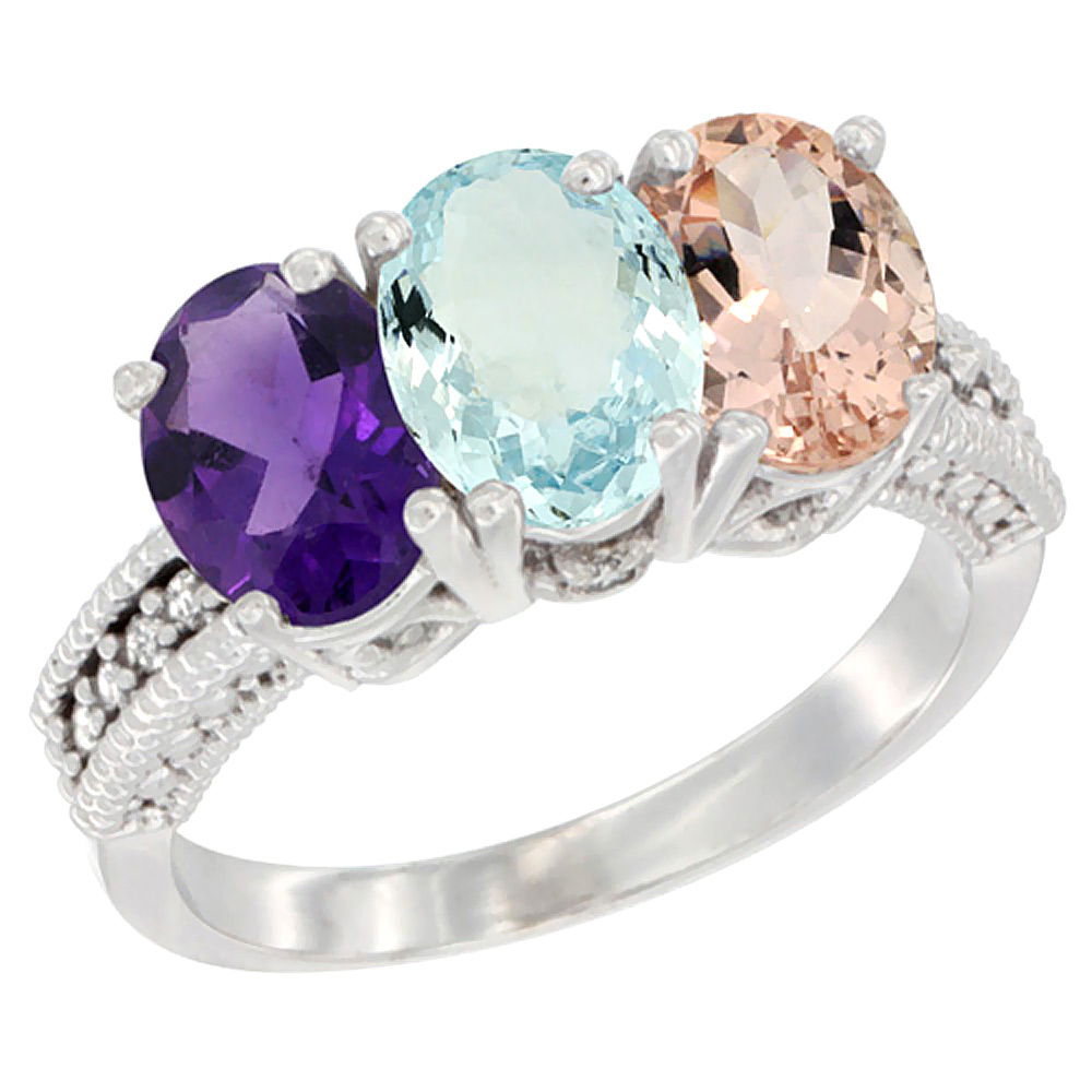 14K White Gold Natural Amethyst, Aquamarine & Blue Sapphire Ring 3-Stone 7x5 mm Oval Diamond Accent, sizes 5 - 10