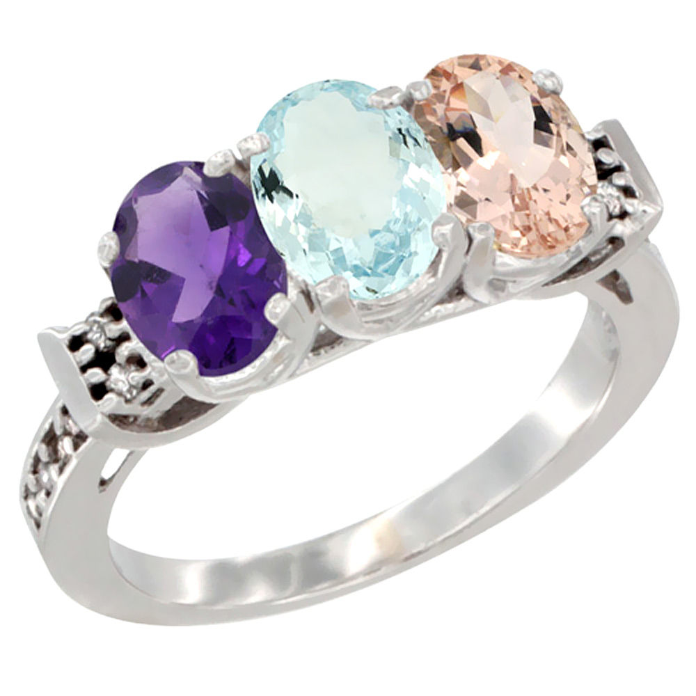 14K White Gold Natural Amethyst, Aquamarine & Morganite Ring 3-Stone 7x5 mm Oval Diamond Accent, sizes 5 - 10