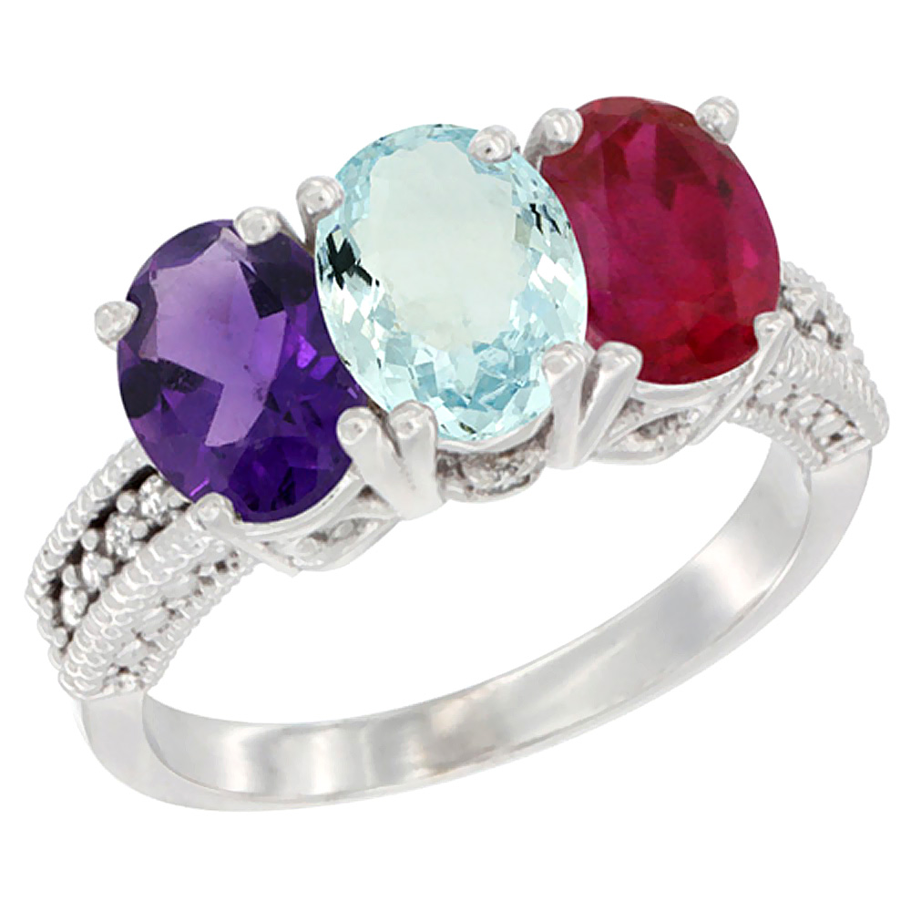 14K White Gold Natural Amethyst, Aquamarine & Enhanced Ruby Ring 3-Stone 7x5 mm Oval Diamond Accent, sizes 5 - 10