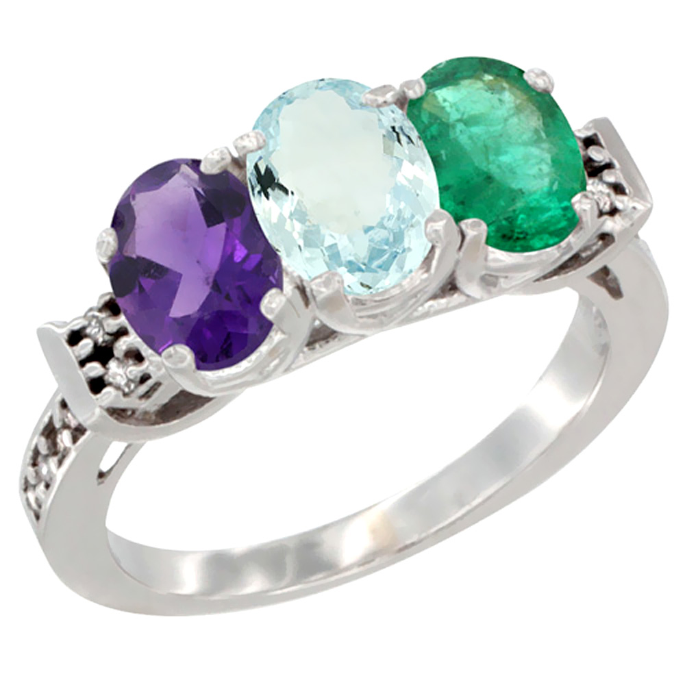 14K White Gold Natural Amethyst, Aquamarine & Emerald Ring 3-Stone 7x5 mm Oval Diamond Accent, sizes 5 - 10