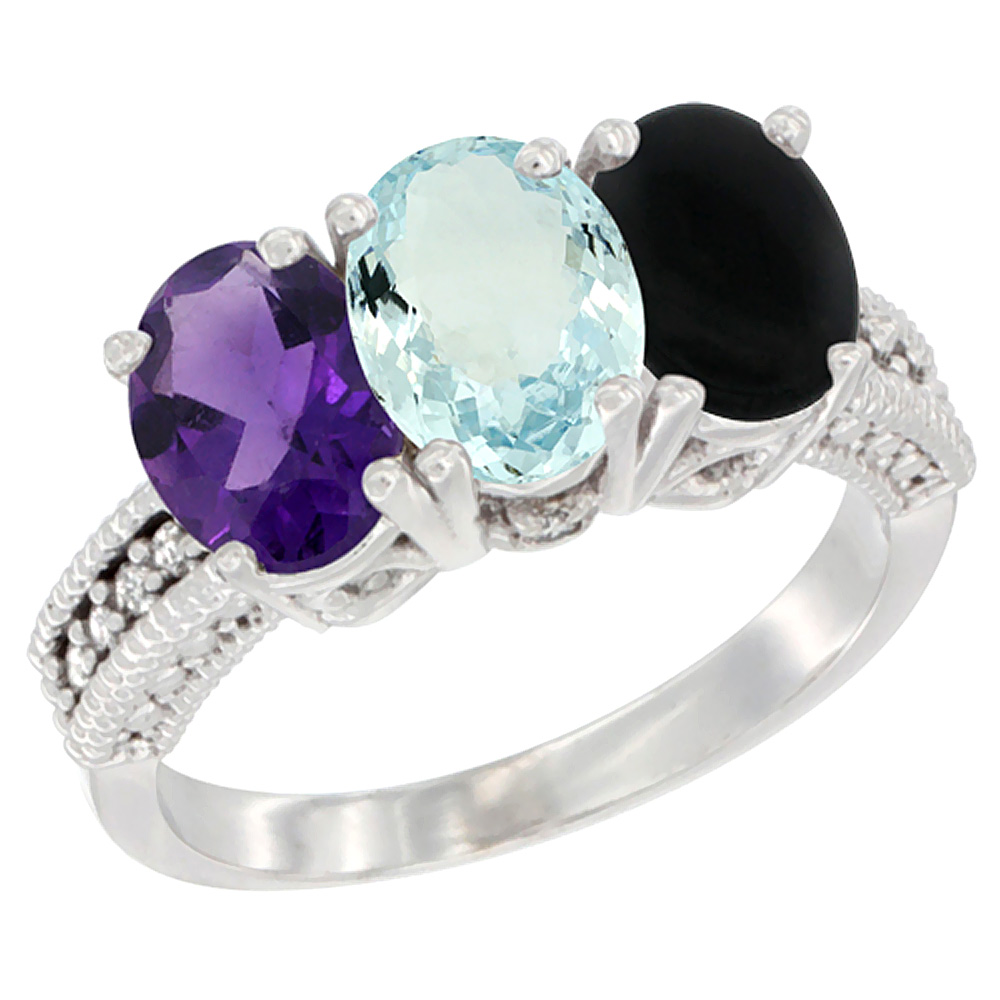 14K White Gold Natural Amethyst, Aquamarine & Black Onyx Ring 3-Stone 7x5 mm Oval Diamond Accent, sizes 5 - 10