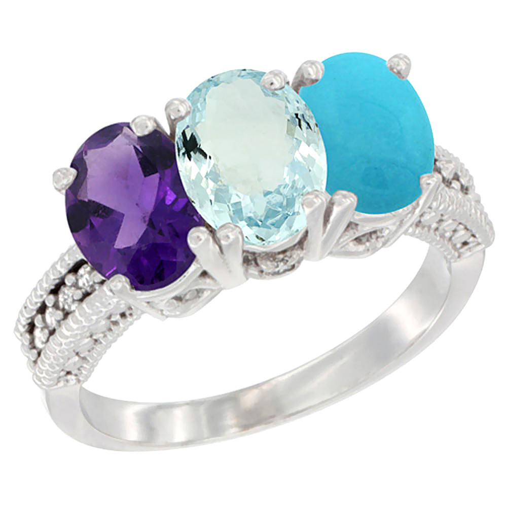 14K White Gold Natural Amethyst, Aquamarine & Turquoise Ring 3-Stone 7x5 mm Oval Diamond Accent, sizes 5 - 10