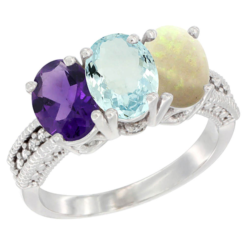 10K White Gold Natural Amethyst, Aquamarine & Opal Ring 3-Stone Oval 7x5 mm Diamond Accent, sizes 5 - 10