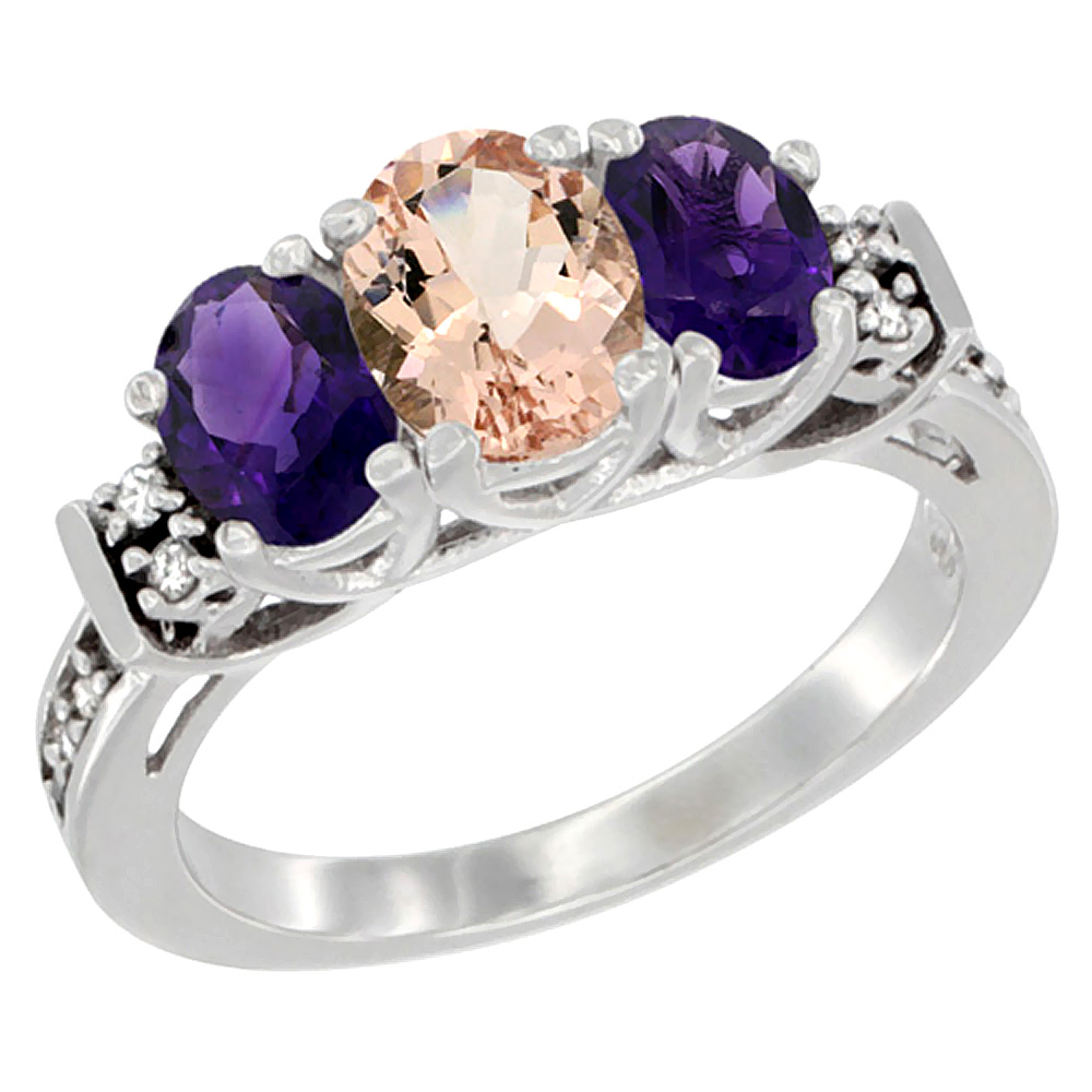 10K White Gold Natural Morganite & Amethyst Ring 3-Stone Oval Diamond Accent, sizes 5-10
