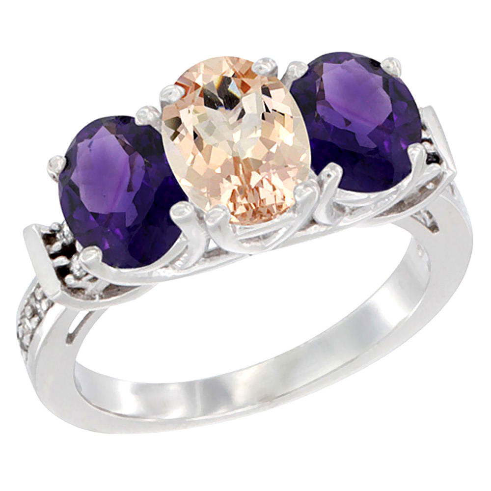 14K White Gold Natural Morganite & Amethyst Sides Ring 3-Stone Oval Diamond Accent, sizes 5 - 10