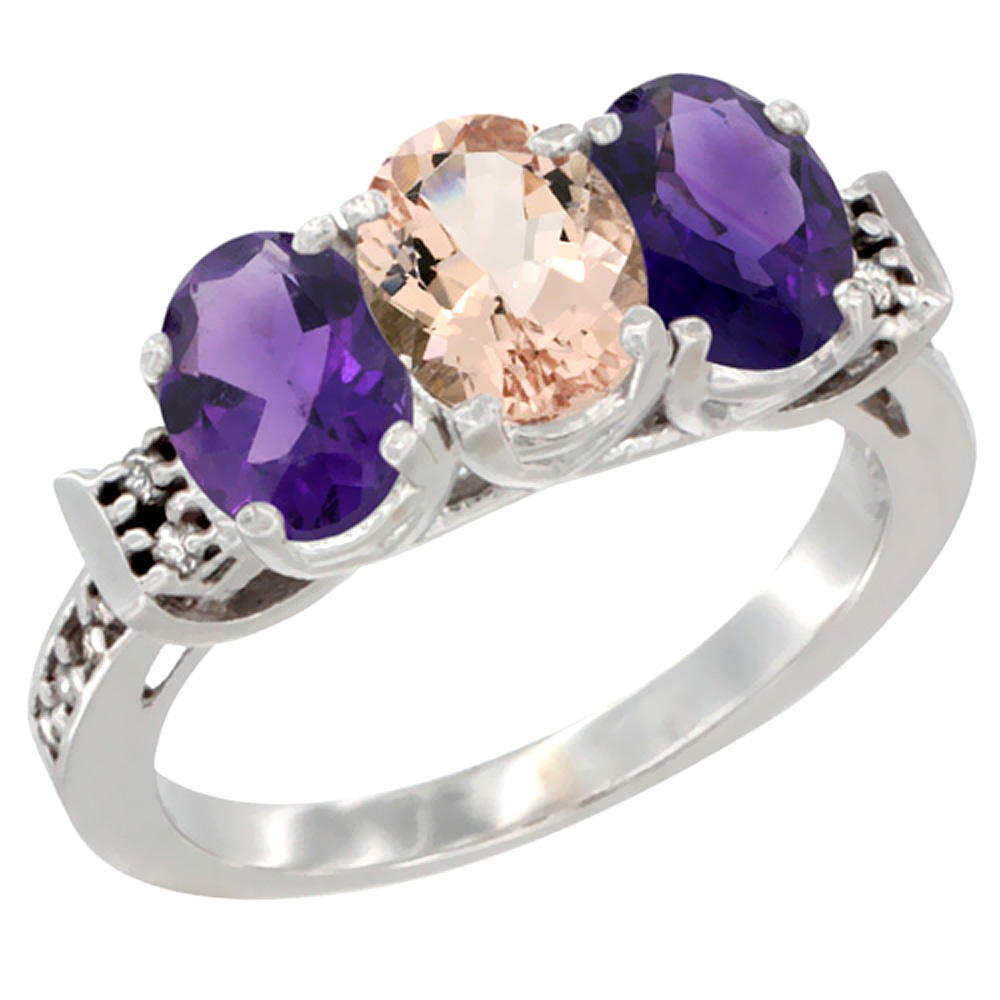 14K White Gold Natural Morganite & Amethyst Sides Ring 3-Stone 7x5 mm Oval Diamond Accent, sizes 5 - 10