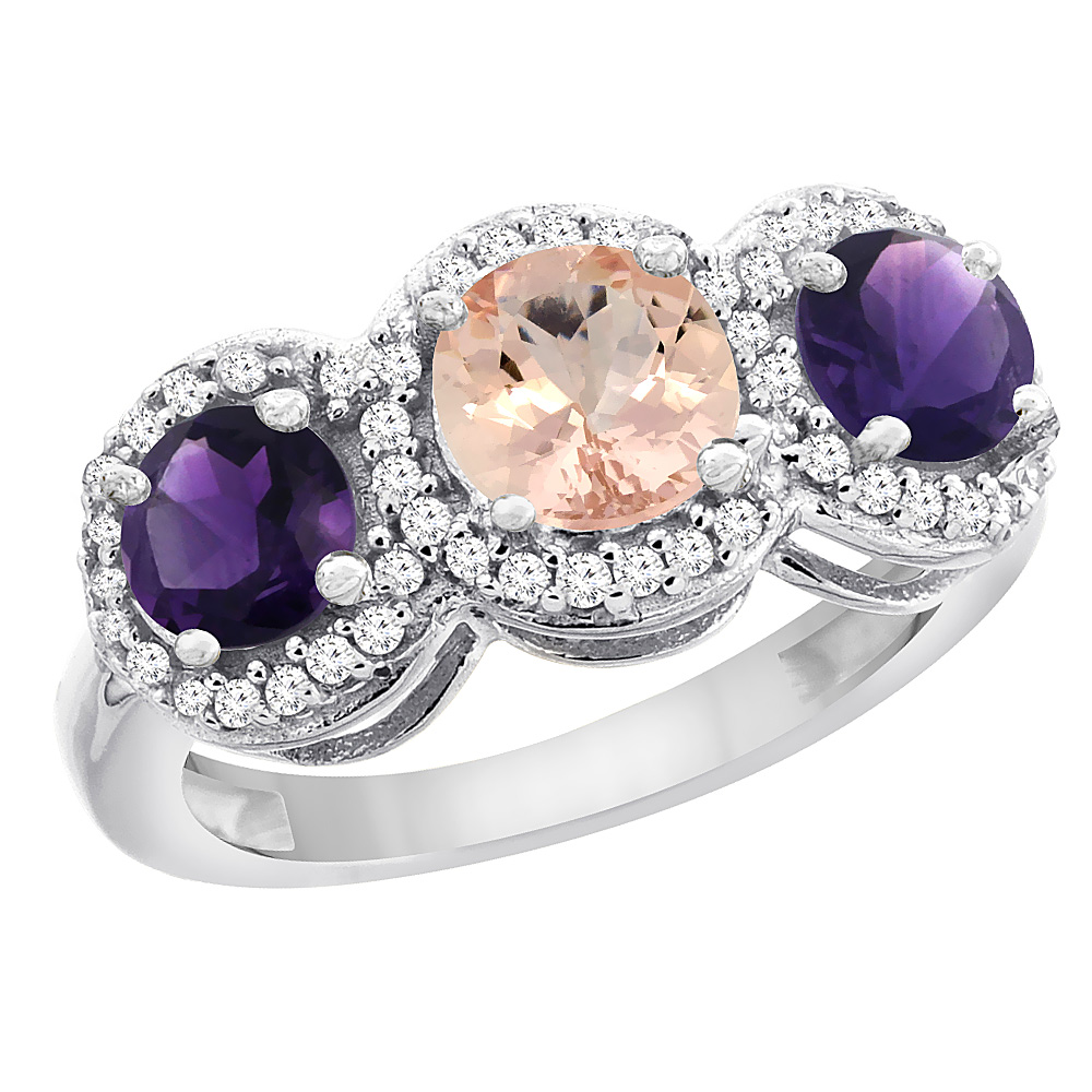 10K White Gold Natural Morganite & Amethyst Sides Round 3-stone Ring Diamond Accents, sizes 5 - 10