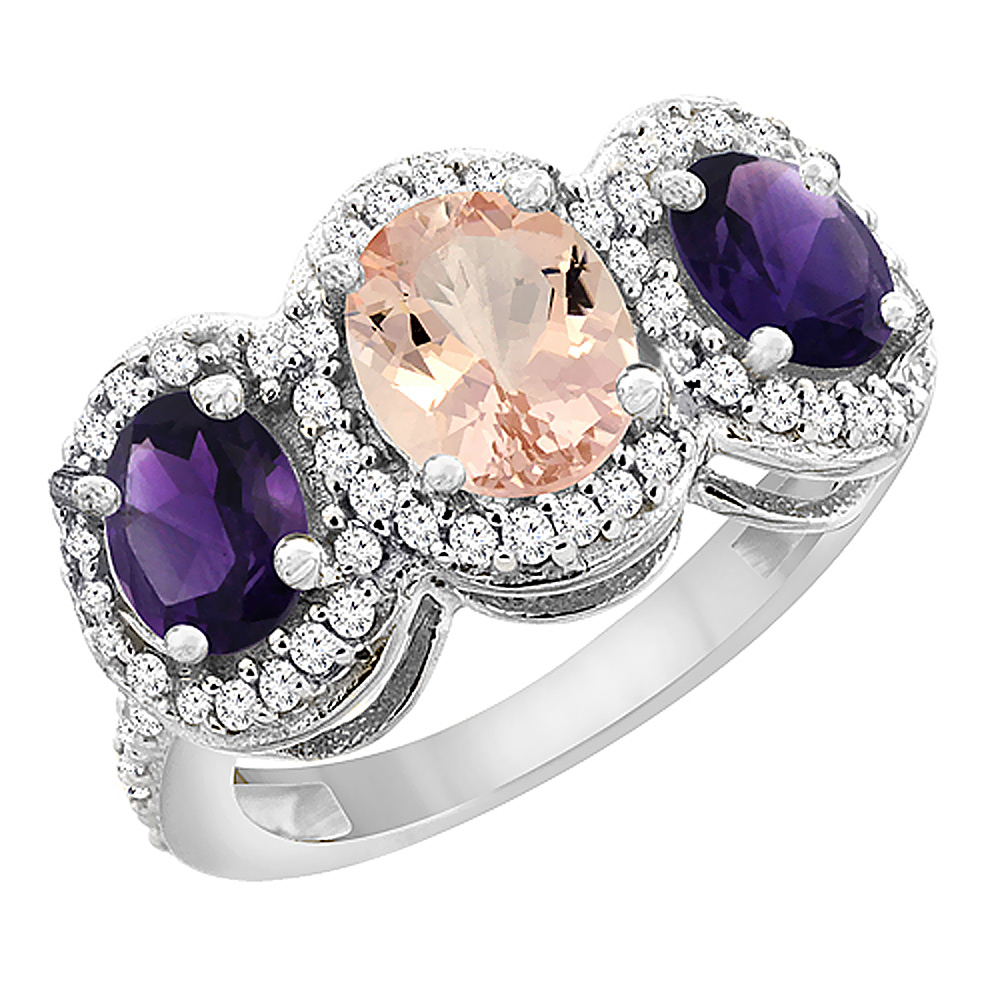 10K White Gold Natural Morganite & Amethyst 3-Stone Ring Oval Diamond Accent, sizes 5 - 10