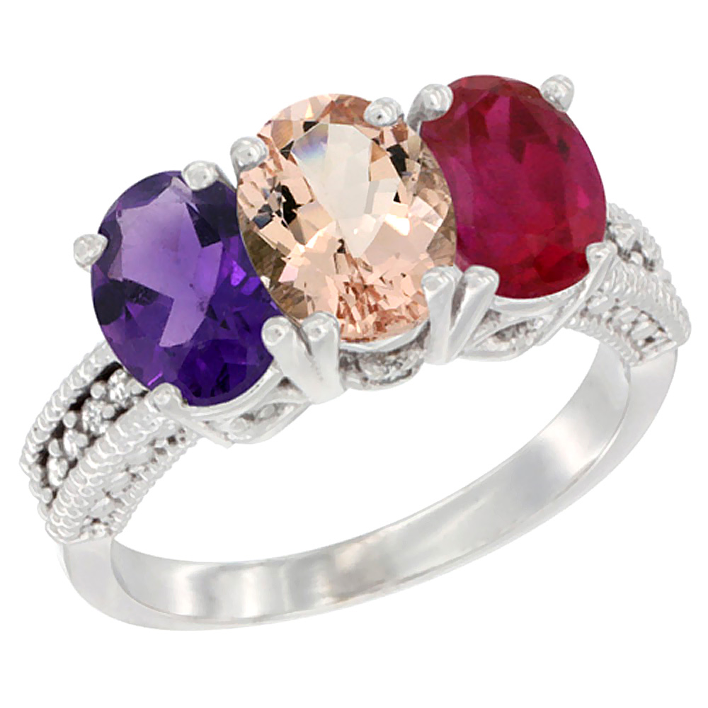 10K White Gold Natural Amethyst, Morganite & Enhanced Ruby Ring 3-Stone Oval 7x5 mm Diamond Accent, sizes 5 - 10