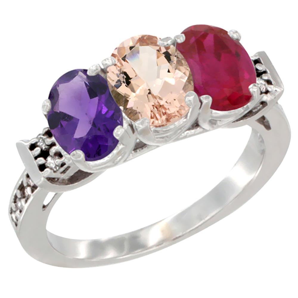 14K White Gold Natural Amethyst, Morganite & Enhanced Ruby Ring 3-Stone 7x5 mm Oval Diamond Accent, sizes 5 - 10