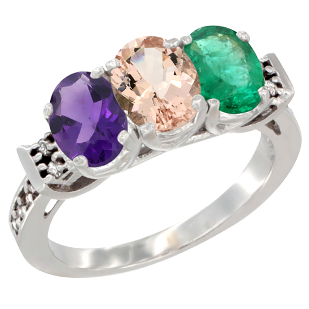 14K White Gold Natural Amethyst, Morganite & Emerald Ring 3-Stone 7x5 mm Oval Diamond Accent, sizes 5 - 10