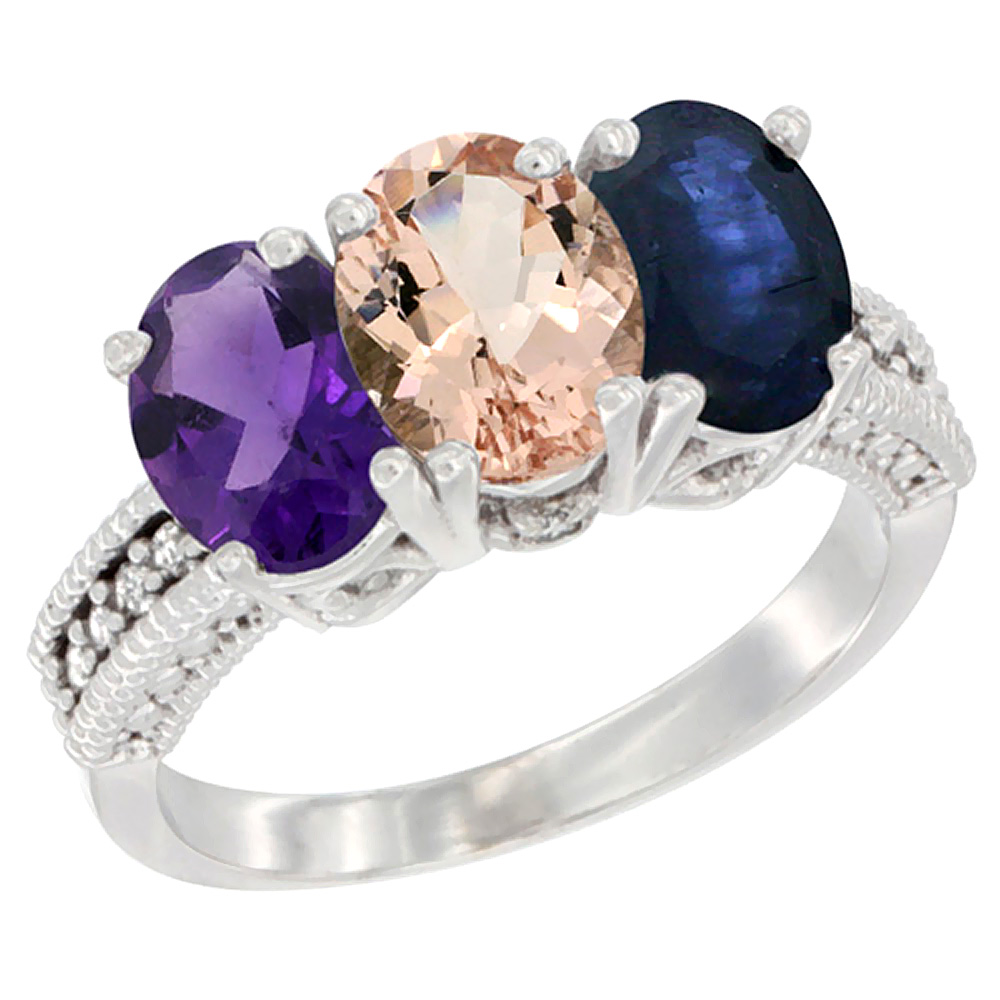 14K White Gold Natural Amethyst, Morganite & Blue Sapphire Ring 3-Stone 7x5 mm Oval Diamond Accent, sizes 5 - 10