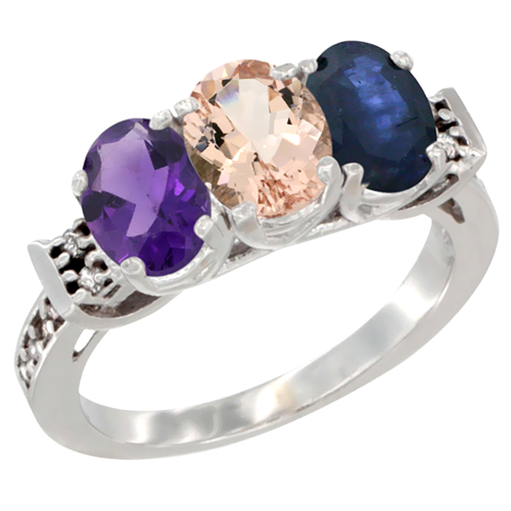 10K White Gold Natural Amethyst, Morganite & Blue Sapphire Ring 3-Stone Oval 7x5 mm Diamond Accent, sizes 5 - 10