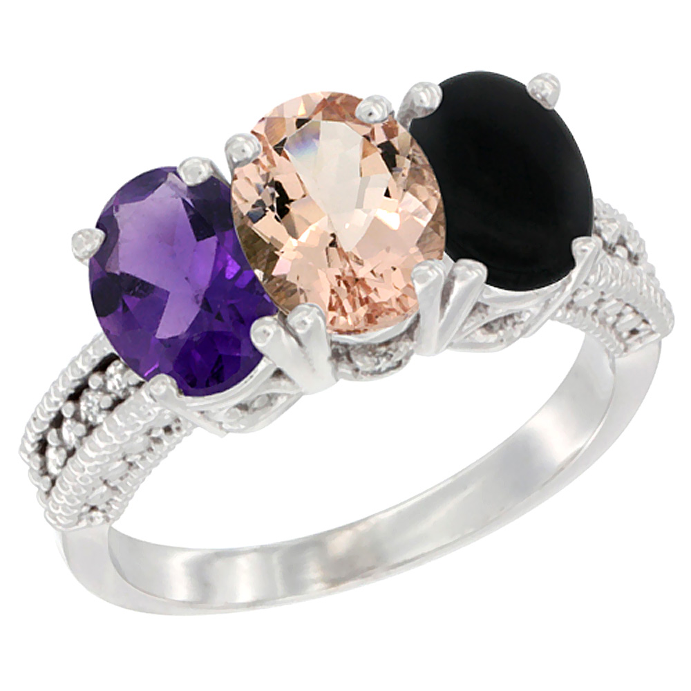 10K White Gold Natural Amethyst, Morganite & Black Onyx Ring 3-Stone Oval 7x5 mm Diamond Accent, sizes 5 - 10