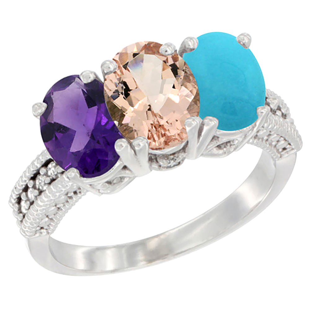 14K White Gold Natural Amethyst, Morganite & Turquoise Ring 3-Stone 7x5 mm Oval Diamond Accent, sizes 5 - 10