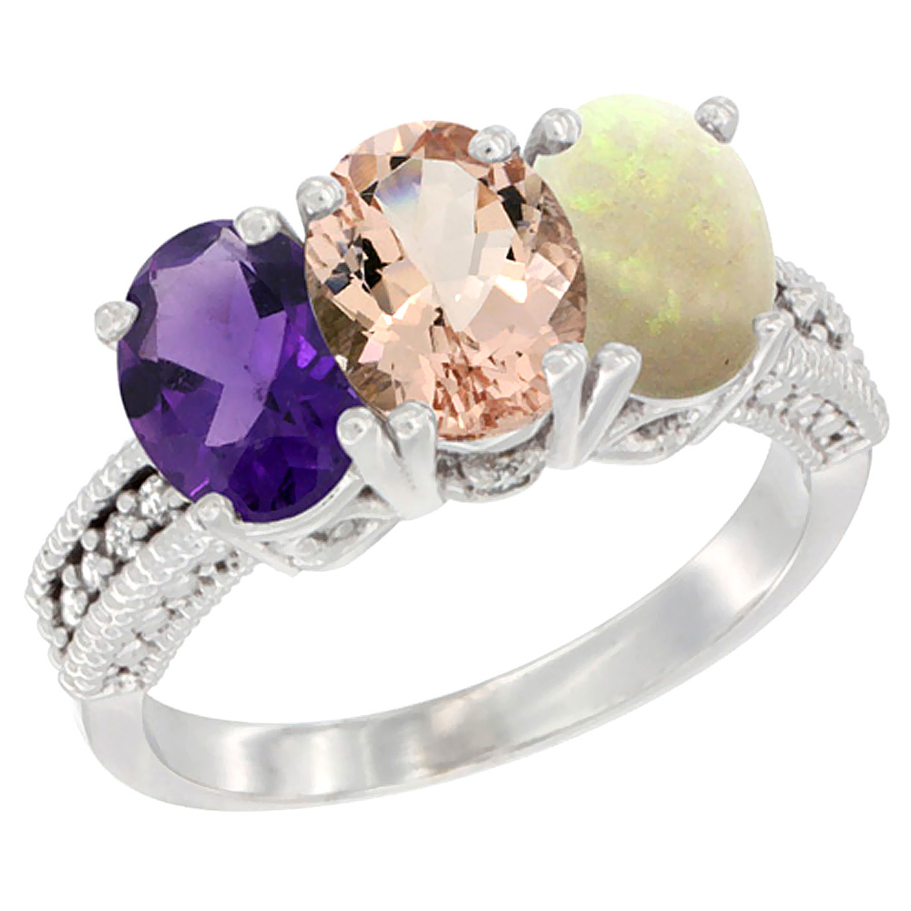 10K White Gold Natural Amethyst, Morganite & Opal Ring 3-Stone Oval 7x5 mm Diamond Accent, sizes 5 - 10
