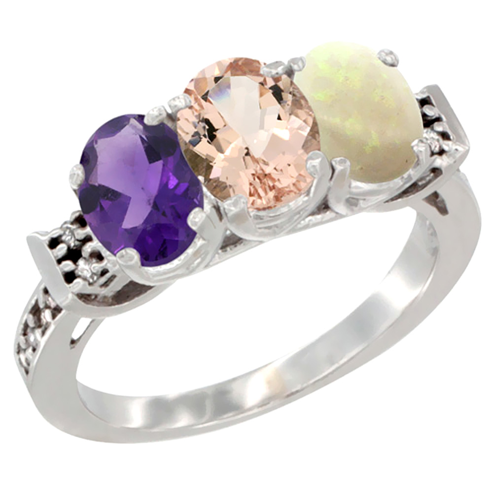 14K White Gold Natural Amethyst, Morganite & Opal Ring 3-Stone 7x5 mm Oval Diamond Accent, sizes 5 - 10