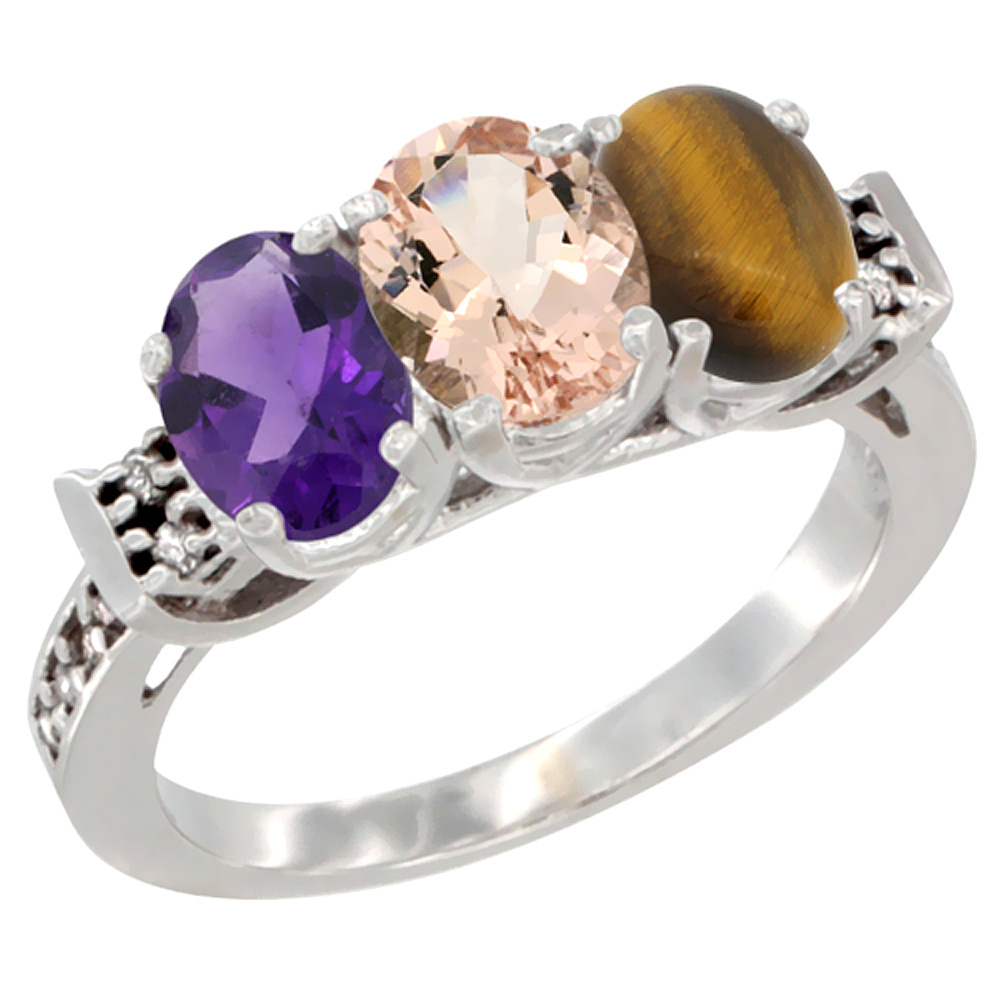 10K White Gold Natural Amethyst, Morganite & Tiger Eye Ring 3-Stone Oval 7x5 mm Diamond Accent, sizes 5 - 10