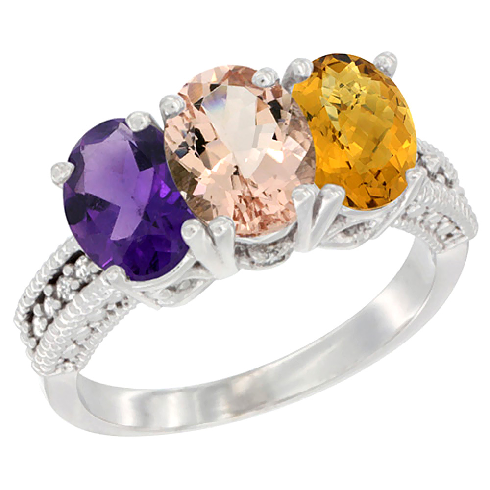 10K White Gold Natural Amethyst, Morganite & Whisky Quartz Ring 3-Stone Oval 7x5 mm Diamond Accent, sizes 5 - 10