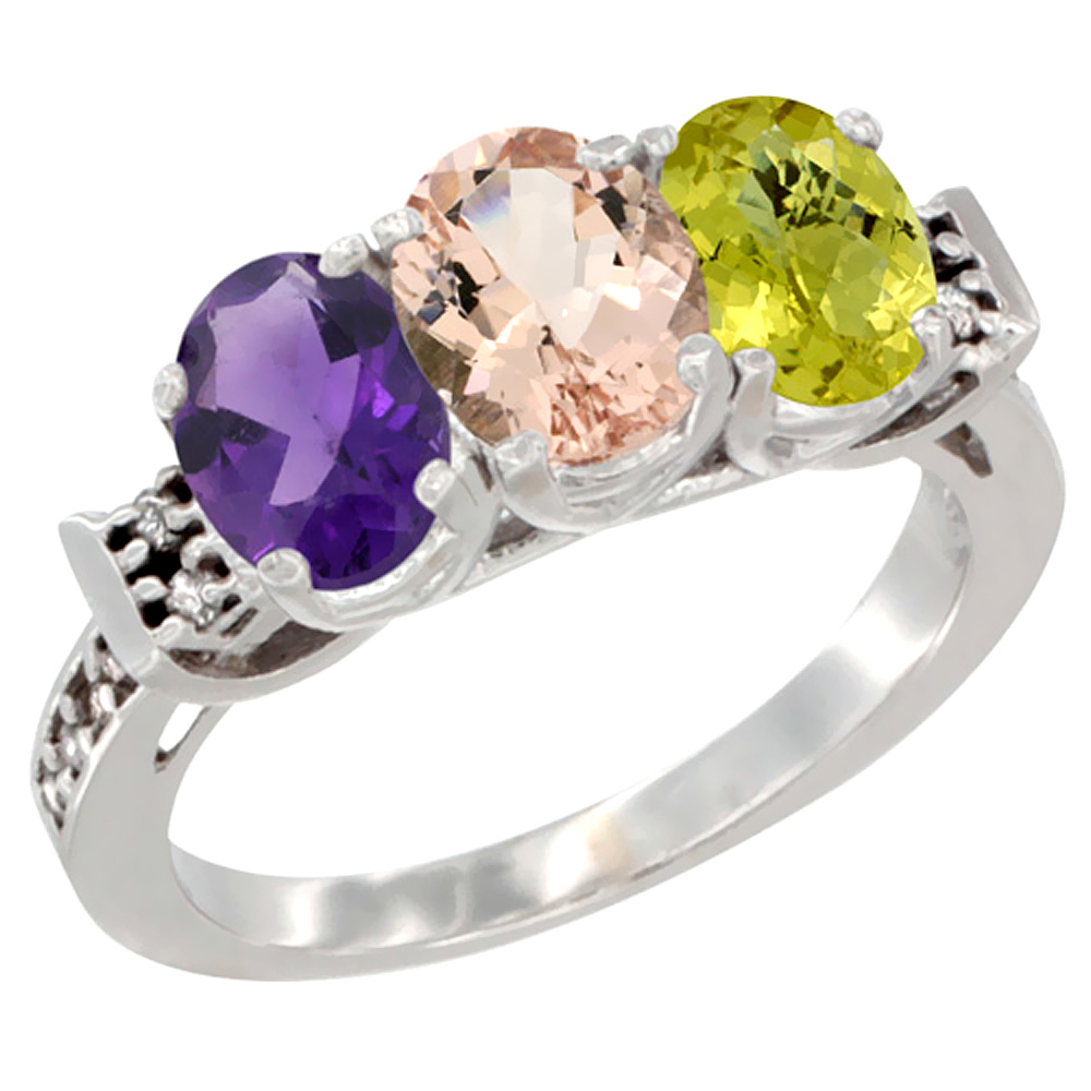 10K White Gold Natural Amethyst, Morganite & Lemon Quartz Ring 3-Stone Oval 7x5 mm Diamond Accent, sizes 5 - 10