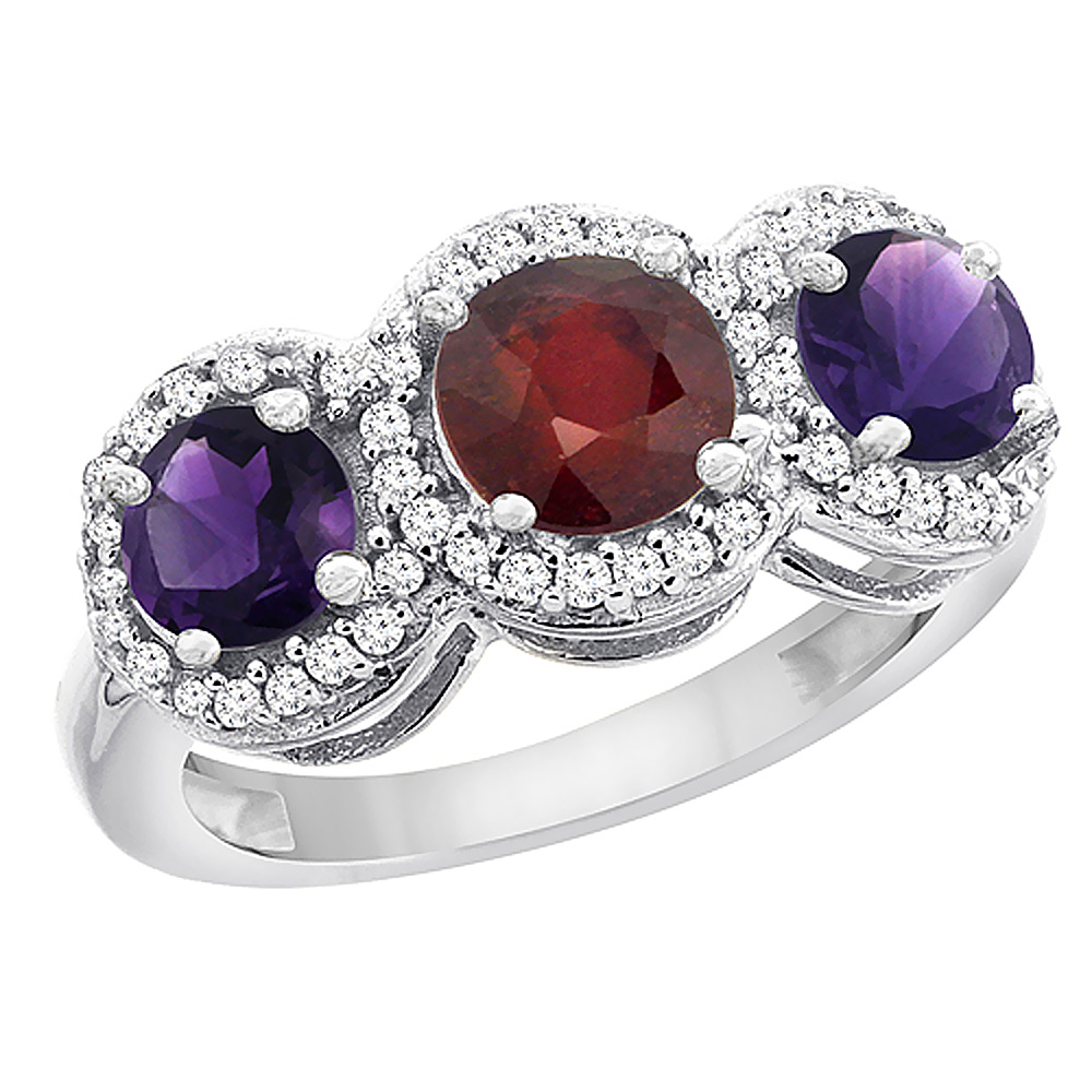 10K White Gold Enhanced Ruby & Amethyst Sides Round 3-stone Ring Diamond Accents, sizes 5 - 10