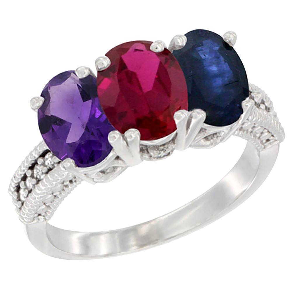 10K White Gold Natural Amethyst, Enhanced Ruby & Natural Blue Sapphire Ring 3-Stone Oval 7x5 mm Diamond Accent, sizes 5 - 10